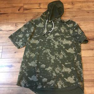 Mens xxl cute camouflage short sleeve hoodie